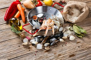 Ingredients for spanish paella.