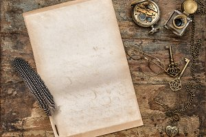 Vintage paper sheet writing tools