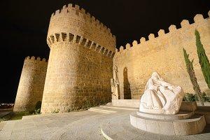 Avila at night, medieval city walls.