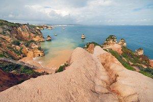 Algarve coastline on a cloudy day.
