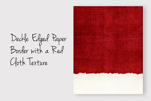 Deckled Paper Edge on Red Cloth