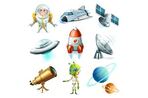 Space, spaceship, planet, ufo.Vector