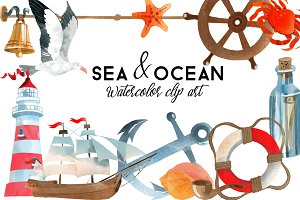 Sea & Ocean. Watercolor Clip Art