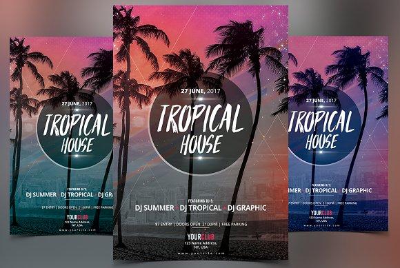 tropical house psd flyer flyer templates creative market