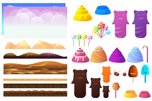 Candyland Vector Game Elements