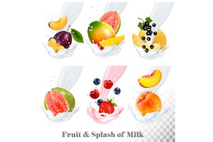 Set of fruit in a milk splash