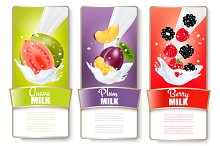 Labels of fruit in milk splashes