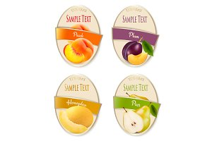 Set of labels of berries and fruit.