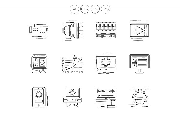 Video blogging flat line icons - Icons