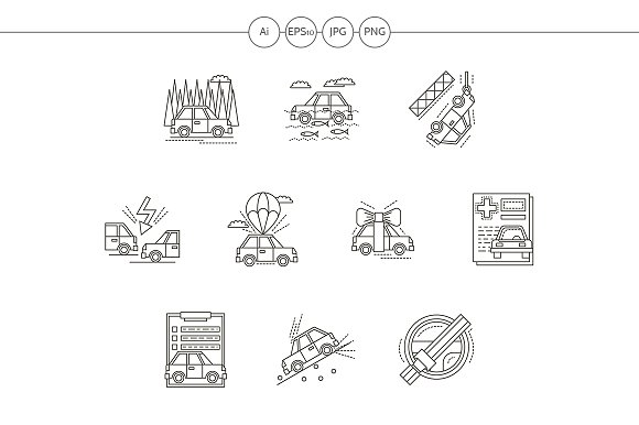 Car insurance flat line vector icons - Icons