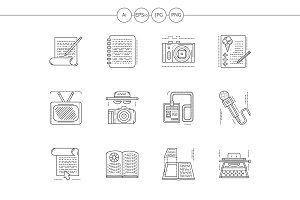 Media publishing flat line icons