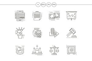 Banking flat line vector icons