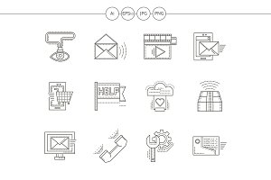Technical support flat line icons