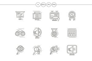 SEO  flat line vector icons set
