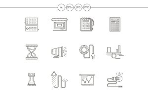 Business strategy flat line icons