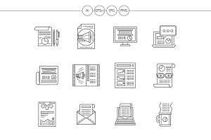 Web publications flat line icons