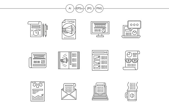 Web publications flat line icons - Icons