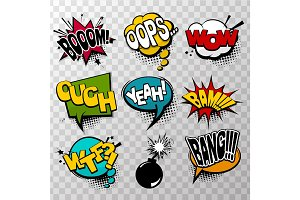 Set effects comic speech bubbles