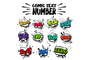 Comic text colored number set