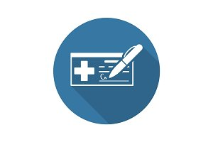 Medical Prescription and Services Icon. Flat Design. Long Shadow