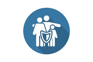 Family Insurance Solutions and Services Icon. Flat Design. Long