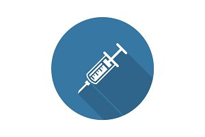Vaccination and Medical Services Icon. Flat Design. Long Shadow.