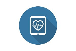 Cardiogram and Medical Services Icon. Flat Design. Long Shadow.