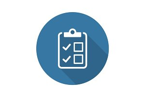 Appointment Request and Medical Services Icon. Flat Design. Long