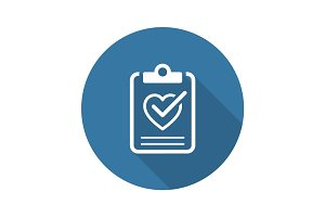 Health Tests and Medical Services Icon. Flat Design. Long Shadow