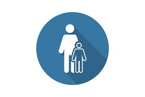 Pediatrics and Medical Services Icon. Flat Design. Long Shadow.