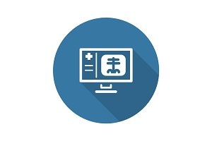 Radiology and Medical Services Icon. Flat Design. Long Shadow.