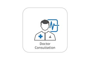 Doctor Consultation and Medical Services Icon. Flat Design.