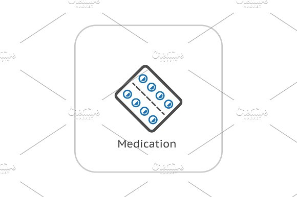 Medication and Medical Services Icon. Flat Design.