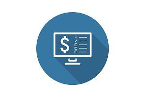 Making Money Icon. Business Concept. Flat Design. Long Shadow.
