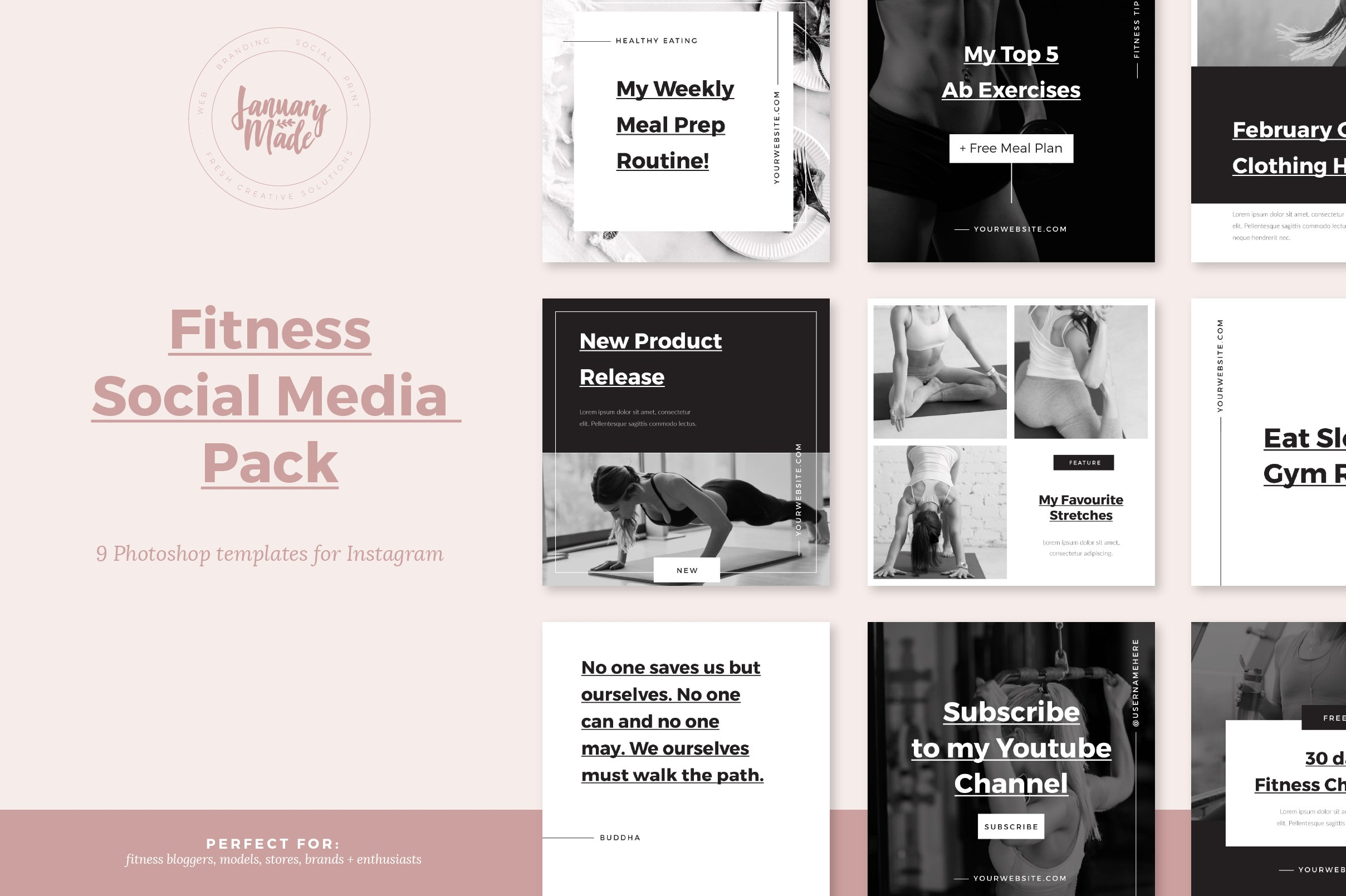 fitness instagram template social media templates creative market. Black Bedroom Furniture Sets. Home Design Ideas