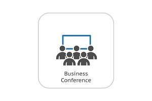 Business Conference Icon. Online Learning. Flat Design.