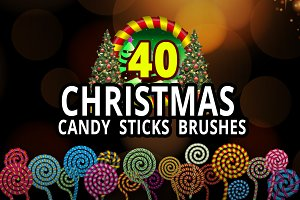 40 Christmas Candy Sticks Brushes