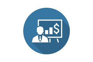 Business Training Icon. Online Learning. Flat Design.