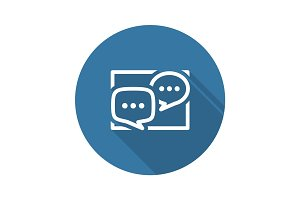 Discussion Board Icon. Business Concept. Flat Design.