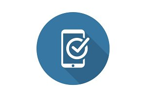 Mobile Register Icon. Online Learning. Flat Design.