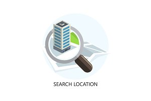 Location Icon. Search Concept. Flat Design.
