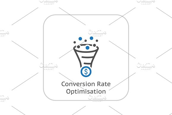 Conversion Rate Optimisation Icon Business Concept Flat Design