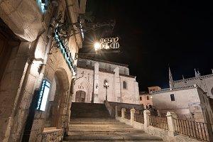 medieval night cityscape, Burgos