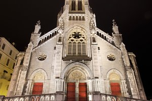 church at night in Biarritz, France.