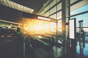 Escalator in terminal of airport