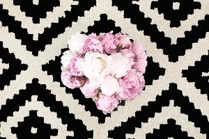 Peonies on Black and White Pattern