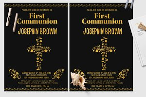 Black and Gold  Baptism Card
