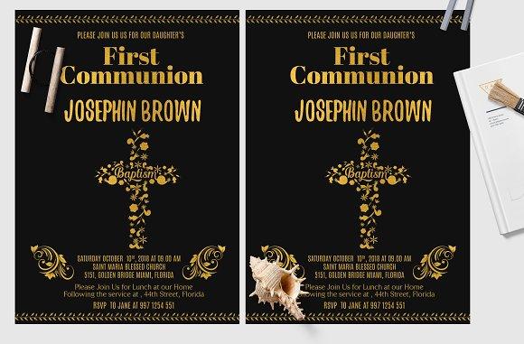 Black and Gold  Baptism Card