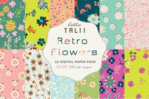 Retro Flowers Digital Paper
