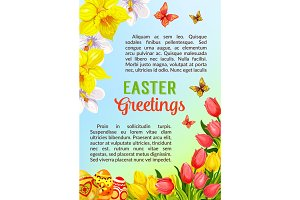 Easter poster greeting paschal eggs vector flowers